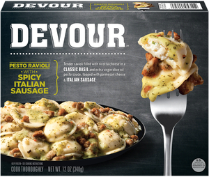 Devour Pesto Ravioli w/Spicy Italian Sausage, 12 Oz (1 Count)