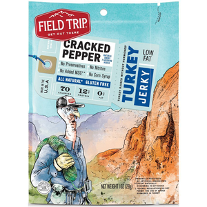Field Trip, All-Natural Turkey Jerky, Cracked Pepper, 1.0 oz. Bag (12 Count)