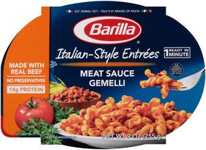 Barilla, Italian Entrees, Meat Sauce Gemelli, 9.0 oz. Bowl (1 Count)