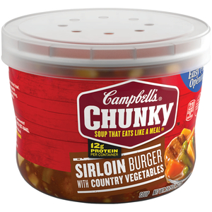 Campbell's, Chunky Soup, Sirloin Burger with Country Vegetables, 15.25 oz. Microwavable Bowl (1 Count)