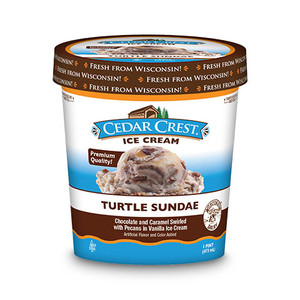 Cedar Crest, Turtle Sundae Ice Cream, Pint (1 Count)
