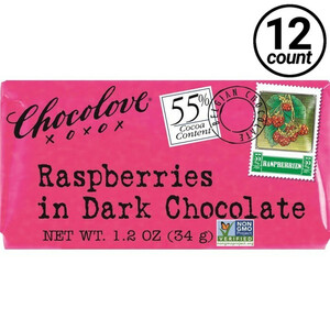 Chocolove Mini, Raspberries in Dark Chocolate, 1.3 oz. (12 Count)