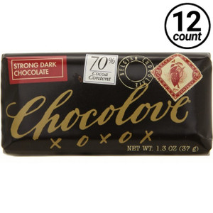 Chocolove Mini, Strong Dark Chocolate 70% Cocoa, 1.3 oz. (12 Count)