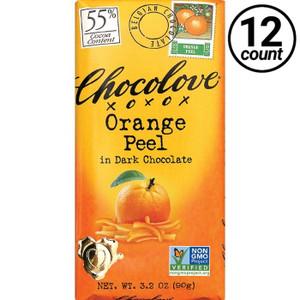 Chocolove, Orange Peel in Dark Chocolate 55% Cocoa, 3.2 oz. Bars (12 Count)