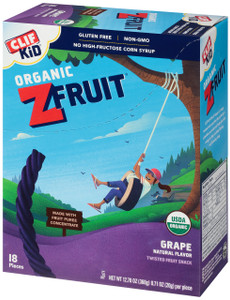 CLIF kid Z-Fruit Rope, Grape, 0.7 oz. Ropes (18 Count)