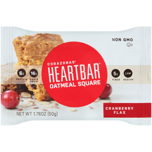 Corazonas, Oatmeal Square, Cranberry Flax, 1.76 oz. bar (12 Count Case)