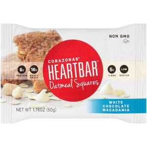Corazonas, Oatmeal Square, White Chocolate Macadamia Nut, 1.76 oz. bar (12 Count Case)