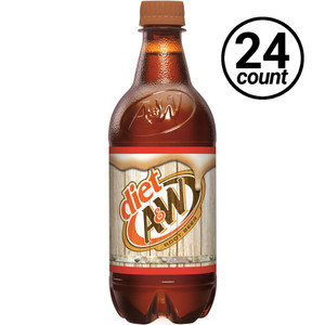 A&W, Diet Root Beer, 20 oz., Bottles (24 Count Case)