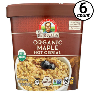 Dr. McDougall's Right Foods, Non-Dairy Hot Cereal, Maple 4 Grain, 2.5 oz. Cups (6 Count)
