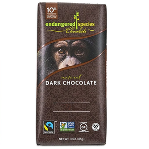 Endangered Species Chocolate All-Natural, Chimpanzee, Supreme Dark Chocolate, 3.0 oz. Bars (12 Count)