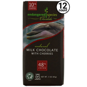 Endangered Species Chocolate All-Natural, Dolphin, Milk Chocolate with Cherries, 3.0 oz. Bar (12 Count)