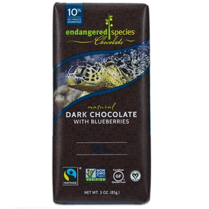 Endangered Species Chocolate All-Natural, Sea Turtle, Dark Chocolate with Blueberries, 3.0 oz. Bar (12 Count)