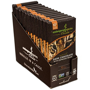 Endangered Species Chocolate All-Natural, Tiger, Dark Chocolate with Espresso Beans, 3.0 oz. Bar (12 Count)