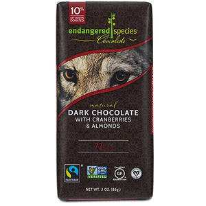 Endangered Species Chocolate All-Natural, Wolf, Dark Chocolate with Cranberries & Almonds, 3.0 oz. Bar (12 Count)