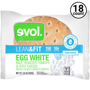 EVOL, Breakfast Sandwich, Lean & Fit Egg White, Kale, Roasted Tomato & Goat Cheese, 3.6 oz. (18 Count)