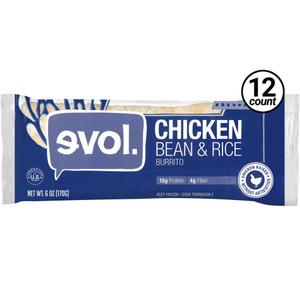 EVOL, Classic Burrito with Chicken, Beans, & Rice 6.0 oz (12 Count)