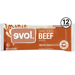 EVOL, Classic Burrito with Shredded Beef 6.0 oz. (12 Count)