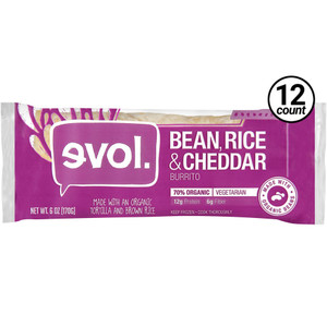 EVOL, Classic Burrito with Beans, Rice & Cheddar Cheese 6.0 oz. (12 Count)
