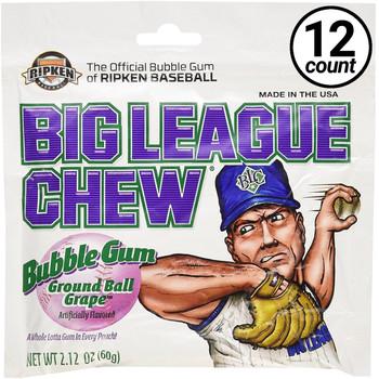 Big League Chew, Bubble Gum, Ground Ball Grape, 2.12 oz. Bag (12 Count)