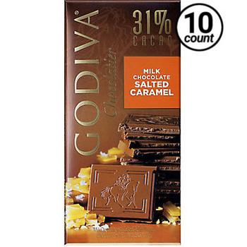 Godiva, Milk Chocolate Salted Caramel 31% cacao, 3.5 oz. Bar (10 Count)