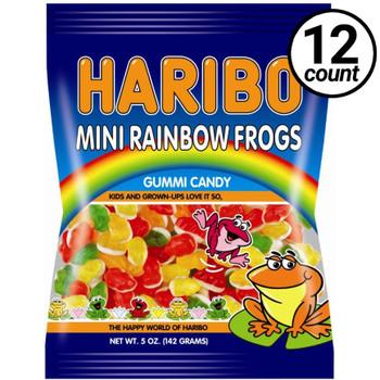Haribo Gummi Candy, Mini Rainbow Frogs, 5.0 oz. Bag (12 Count)
