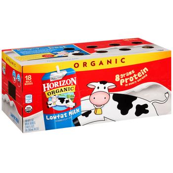Horizon Organic, Lowfat Milk, 8 oz. Carton (18 Count Case)