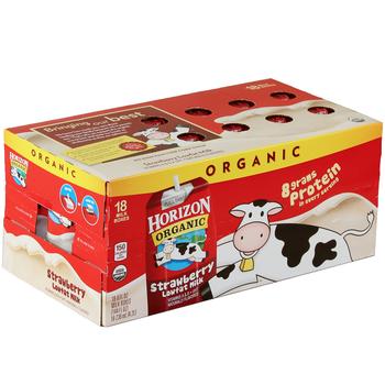 Horizon Organic, Lowfat Strawberry Milk, 8 oz. Carton (18 Count Case)