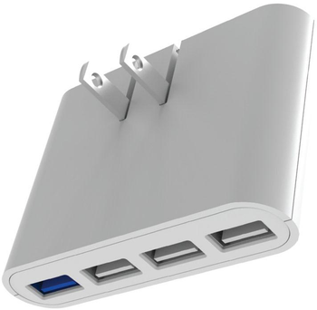 iHome AC Pro Wall Charger, 5.4A, 4 USB Port, White Color (1 Count)