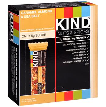 KIND Nuts & Spices, Caramel Almond & Sea Salt, 1.4 oz. Bars (12 Count)
