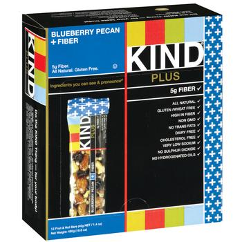 KIND PLUS, Blueberry Pecan + Fiber, 1.4 oz. Bar (12 Count)