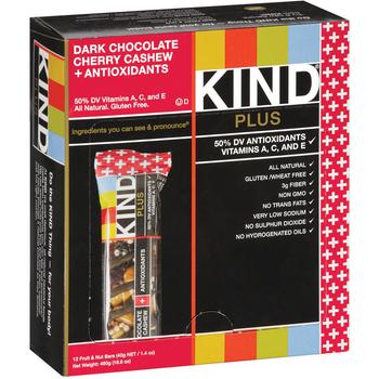 KIND PLUS, Dark Chocolate Cherry Cashew + Antioxidants, 1.4 oz. Bars (12 Count)