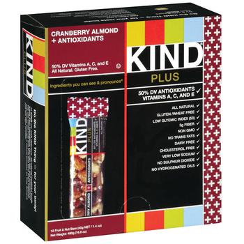 KIND, Cranberry & Almond + Antioxidants, 1.4 oz. Bars (12 Count)