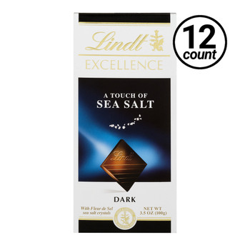 Lindt Excellence, A Touch of Sea Salt Dark Chocolate, 3.5 oz. Bars ( 12 Count)