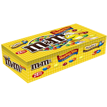 M&M's, Chocolate Candies, Peanut, Sharing Size, 3.27 oz. Bags (24 Count)