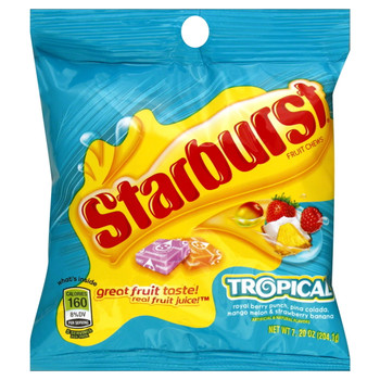 Starburst Fruit Chews Tropical, 7.2 oz. Peg Bag (1 Count)