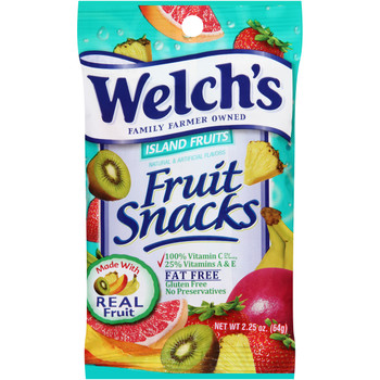 Welch's Fruit Snacks, Island Fruits, 2.25 oz. Peg Bag (1 Count)