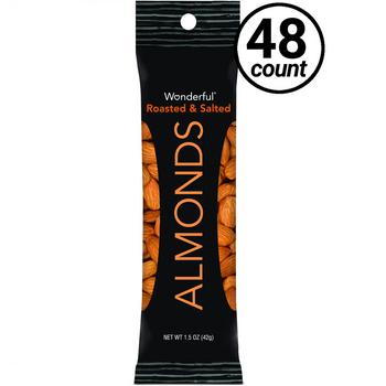 Wonderful Almonds, Roasted & Salted, 1.5 oz. Peg Bag (48 Count)