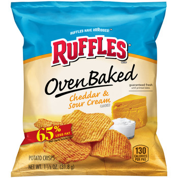 Ruffles, Oven Baked, Cheddar and Sour Cream, 1.125 oz. Bag (1 Count)