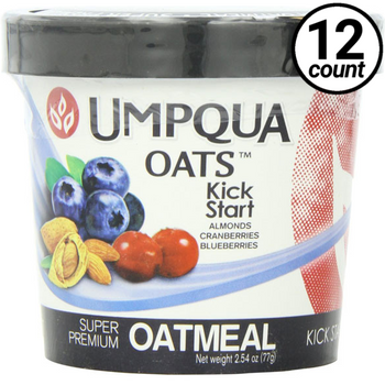 Umpqua Oats All Natural Oatmeal, Kick Start, Almonds/Cranberries & Blueberries, 2.54 Oz (12 Count)