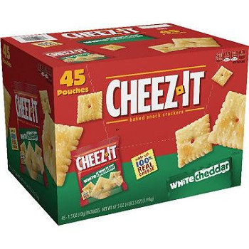 Cheez-It, Cheese Crackers, White Cheddar, 1.5 oz. Bag (45 Count)