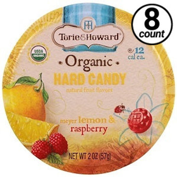 Torie & Howard Organic Hard Candy, Lemon & Raspberry, 2 Oz Tin (8 Count)