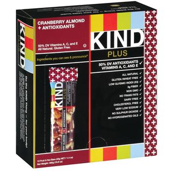 KIND Plus, Cranberry Almond + Antioxidants, 1.4 oz. bars (12 count)