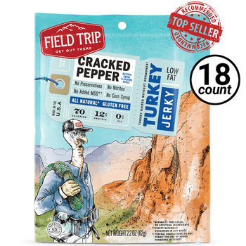 Field Trip, All-Natural Turkey Jerky, Cracked Pepper, 2.2 oz. Bag (18 Count)