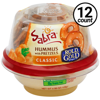 Sabra Hummus with Pretzels, Classic, Grab & Go, 4.56 Oz Cup (12 Count)