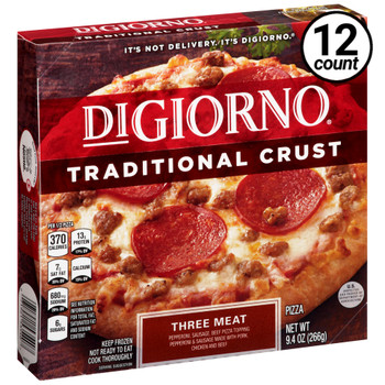 DiGiorno, Traditional Crust, Three Meat, 9.4 oz. Pizza (12 Count)