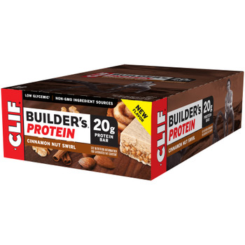 Clif Builder's Protein Bars, Cinnamon Nut Swirl, 2.4 Oz Bar (12 Count)