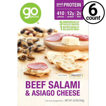 GoPicnic ready-to-eat meals, Classic Deli Meal, Salami+Cheese, 3.4 Oz Box (6 Count)