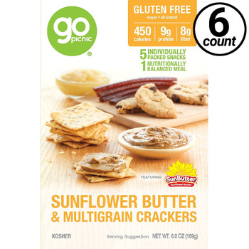 GoPicnic ready-to-eat meals, Sunbutter & Crackers, Gluten Free/Non-GMO/Kosher, 3.6 Oz Box (6 Count)