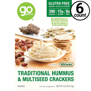 GoPicnic ready-to-eat meals, Traditional Hummus & Multiseed Crackers, Gluten Free, 4.01 Oz Box (6 Count)