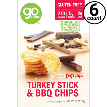 GoPicnic ready-to-eat meals, Turkey Stick & BBQ Chips, Gluten Free, 2.7 Oz Box (6 Count)